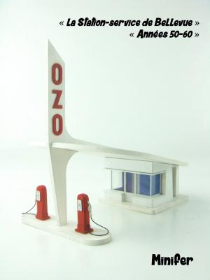 Petrol / Gas station in Bellevue - 50's 60's design (HO)